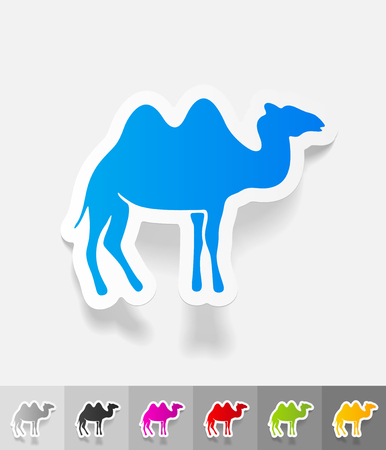 humps: camel paper sticker with shadow. Vector illustration