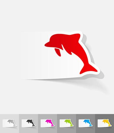 animal viviparous: dolphin paper sticker with shadow. Vector illustration Illustration