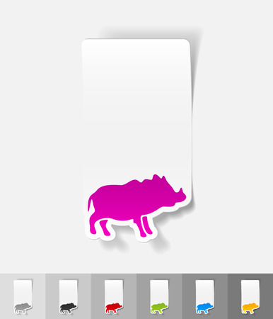 viviparous: boar paper sticker with shadow. Vector illustration