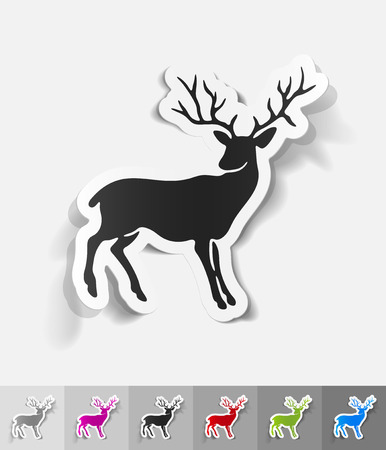 viviparous: deer paper sticker with shadow. Vector illustration