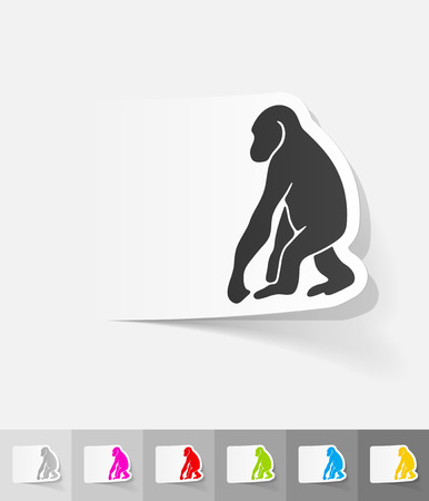 anthropoid: monkey paper sticker with shadow. Vector illustration