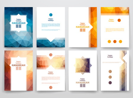 Set of brochure, poster templates in Hanukkah style. Beautiful design and layout Vettoriali