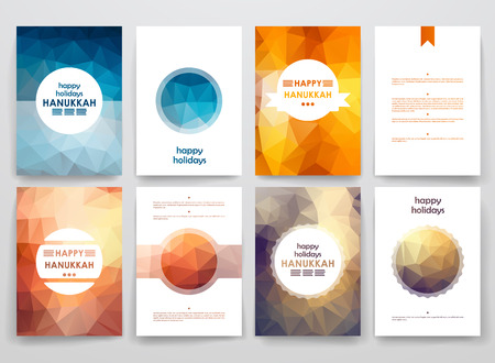 Set of brochure, poster templates in Hanukkah style. Beautiful design and layout Çizim