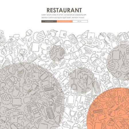 comfort: restaurant Website Template Design with Doodle Background Illustration