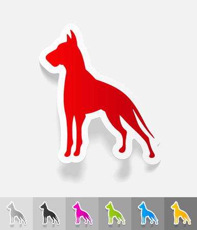 dane: great dane paper sticker with shadow. Vector illustration Stock Photo