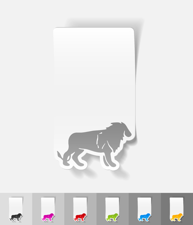 lion paper sticker with shadow. Vector illustration