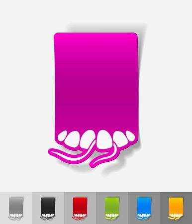 floss: dental floss paper sticker with shadow. Vector illustration Stock Photo