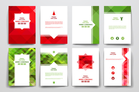 Set of brochure, poster templates in Christmas style. Beautiful design and layout Illustration