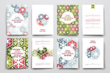 Set of brochure, poster templates in Christmas style. Beautiful design and layout Illusztráció