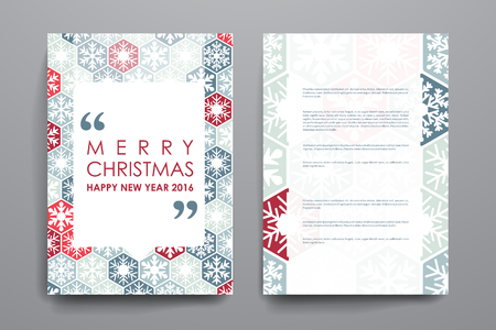 Set of brochure, poster templates in Christmas style. Beautiful design and layout Çizim