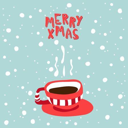 hot chocolate: XMas Greeting card. Illustration of a cup with hot chocolate. Illustration