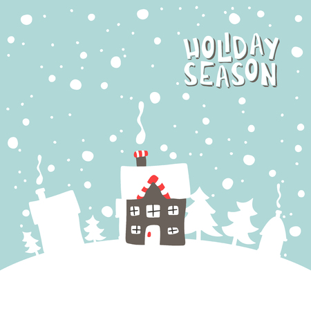 gingerbread house: Greeting card. Illustration of gingerbread house on a snowy background.