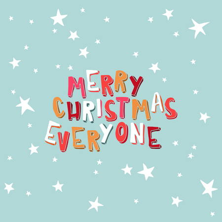 marry christmas: Greeting card. Marry Christmas Everyone on a light blue background with stars.