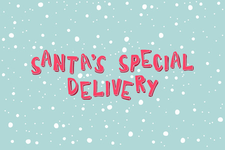 two thousand: Santas Special Delivery on a light blue background with snowflakes. Xmas card.