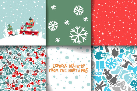 cartoon santa clause: Merry Christmas Set Of Card Templates. Collection for Greeting, Congratulations, Invitations.