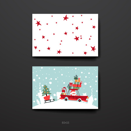 winter tree: Merry Christmas Set Of Card Templates. Collection for Greeting, Congratulations, Invitations.
