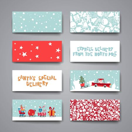 delivery box: Merry Christmas Set Of Card Templates. Collection for Greeting, Congratulations, Invitations.