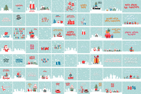 house of santa clause: Vector Illustrations Of Santa Claus With Gifts For Children