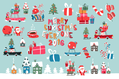 house of santa clause: Vector Illustration Of Santa Claus With Gifts For Children