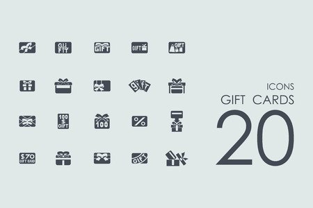 greetings card: gift cards vector set of modern simple icons