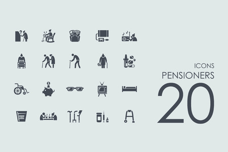 old people: pensioners vector set of modern simple icons Illustration