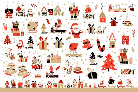 Ilustración vectorial de Santa Claus con regalos para los niños Foto de archivo - 49270299