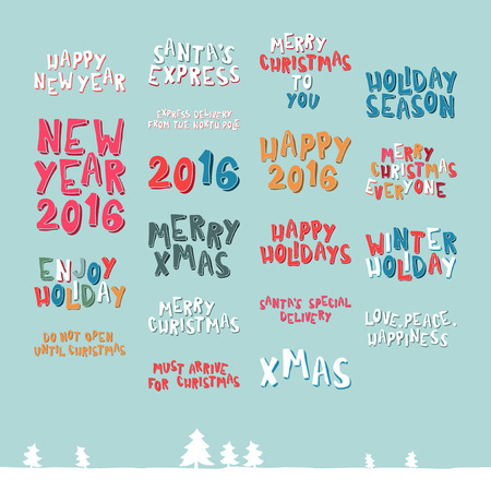 two thousand: A large collection of Christmas greeting phrases in cartoon style