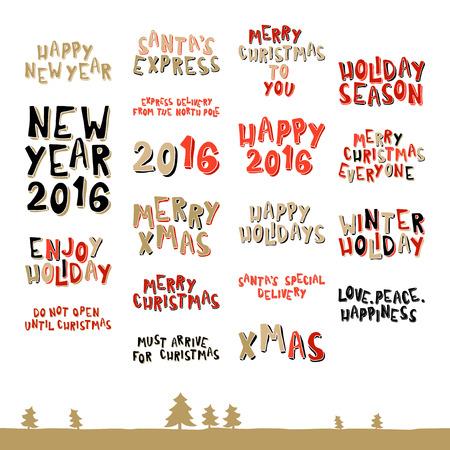 Een grote collectie kerstwens zinnen in cartoon-stijl Stock Illustratie