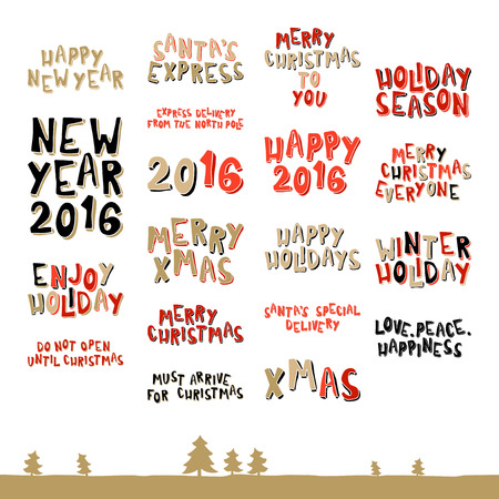 A large collection of Christmas greeting phrases in cartoon style