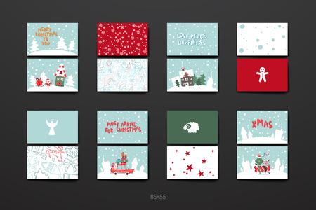 cajas navideñas: Feliz Navidad Juego de plantillas de tarjetas. Colección de felicitación, felicitaciones, invitaciones.