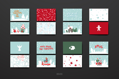 cartoon present: Merry Christmas Set Of Card Templates. Collection for Greeting, Congratulations, Invitations.