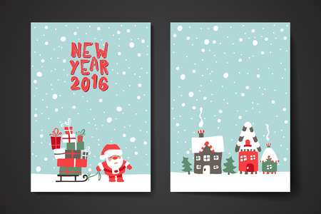congratulations: Merry Christmas Set Of Card Templates. Collection for Greeting, Congratulations, Invitations.