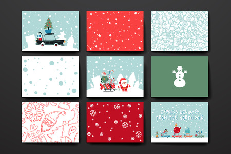 santa clause: Merry Christmas Set Of Card Templates. Collection for Greeting, Congratulations, Invitations.