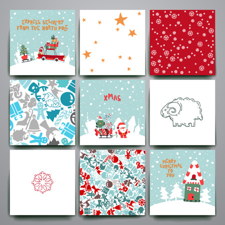 Merry Christmas Set Of Card Templates. Collection for Greeting, Congratulations, Invitations.