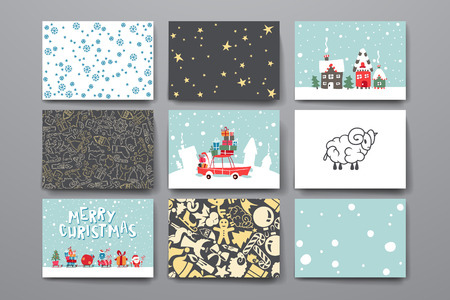 merry: Merry Christmas Set Of Card Templates. Collection for Greeting, Congratulations, Invitations.