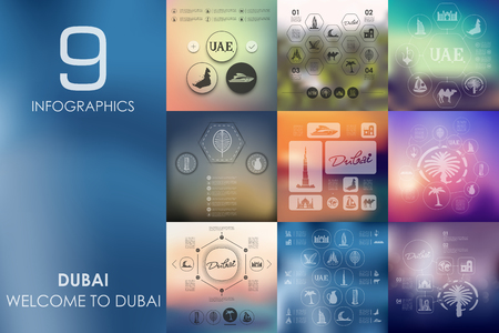 united arab emirate: Dubai vector infographics with unfocused blurred background