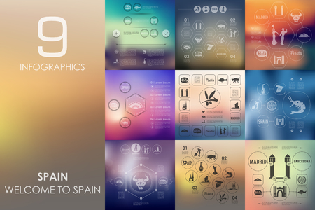 european alps: Spain vector infographics with unfocused blurred background Illustration