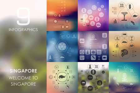 Singapore vector infographics with unfocused blurred background