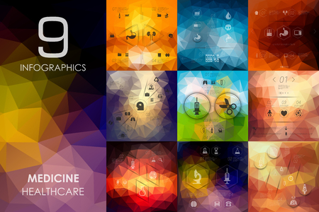 medical emergency service: medicine vector infographics with unfocused blurred background