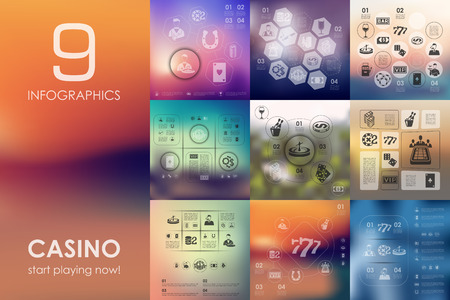 casino vector infographics with unfocused blurred background