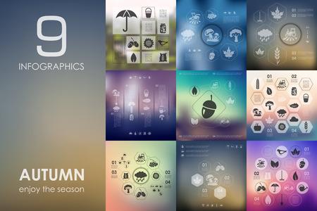 unfocused: autumn vector infographics with unfocused blurred background Illustration