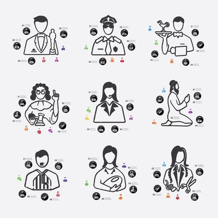 profesiones: profesiones alinean infografía ilustración.