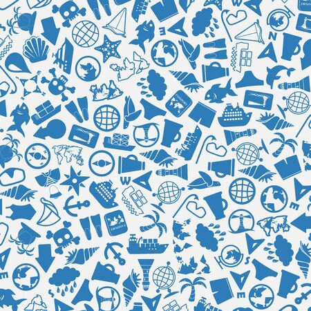 summer holidays: vector background of the flat sea icons