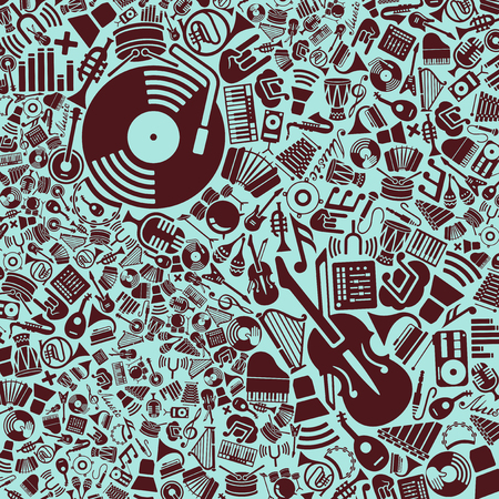 notes music: vector background of the flat music icons