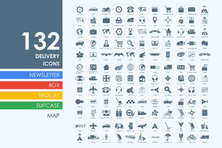 delivery vector set of modern simple icons Vettoriali