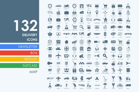 Conjunto de vectores de entrega de iconos simples modernos Foto de archivo - 49296233