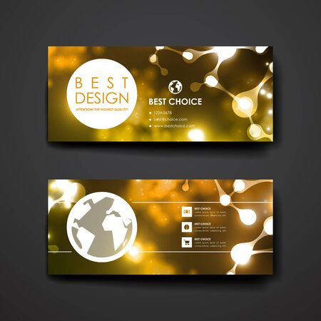 bases: Set of modern design banner template in neon molecule structure style. Beautiful design and layout Illustration