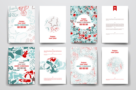 Set of brochure, poster templates in Christmas style. Beautiful design and layout  イラスト・ベクター素材