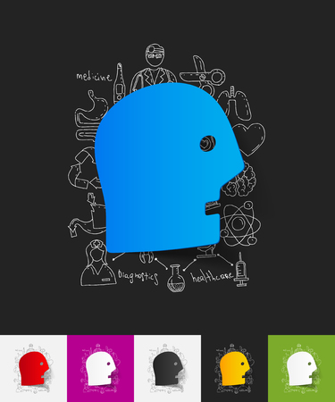 hand on chin: hand drawn simple elements with face paper sticker shadow Illustration