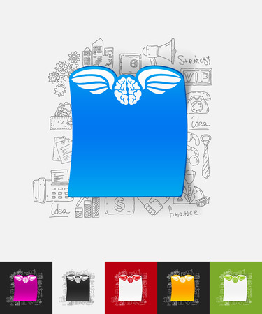 pacification: hand drawn simple elements with angel paper sticker shadow